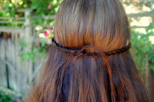 flettet krans i håret